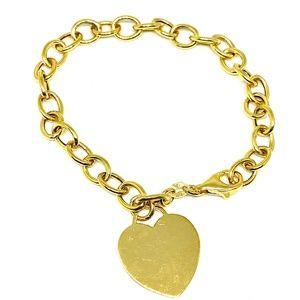GK GOLD OVER STERLING SILVER HEART CHARM BRACELET